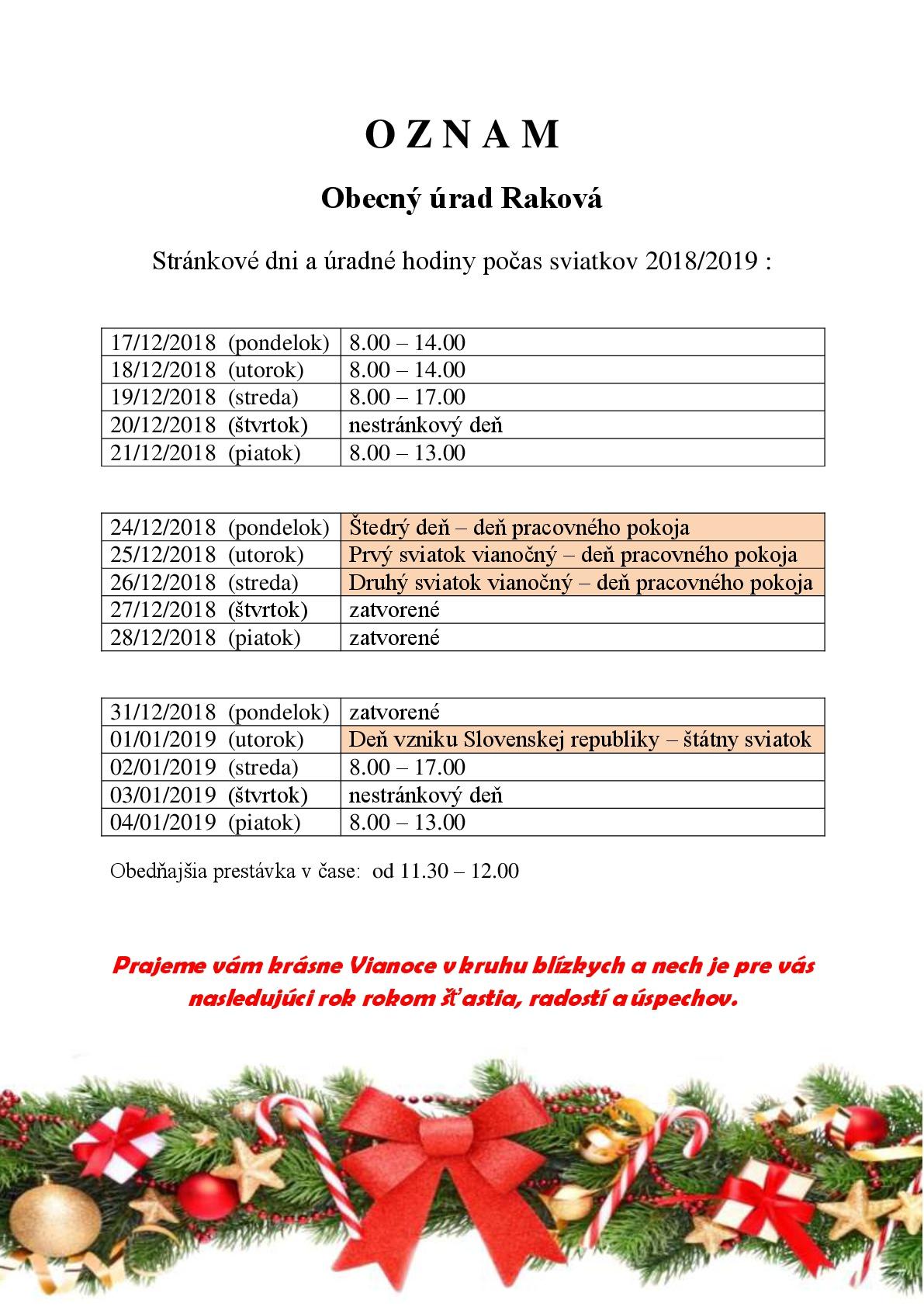 Obec Raková - Stránkové dni a úradné hodiny Obecného úradu Raková 16d27240c60